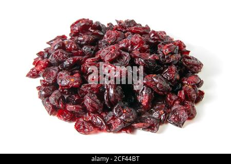 Dried cranberries isolated on white background. Front views, close-up