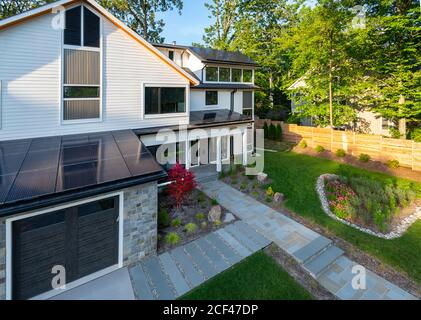 Single family home with solar panels on the roof in Maryland USA MD