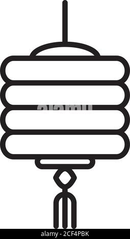 chinese ornament decoration lantern traditional linear style icon vector illustration
