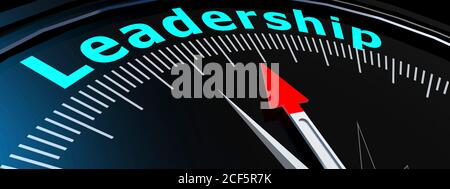 Arrow from a compass points to the leadership, 3D rendering