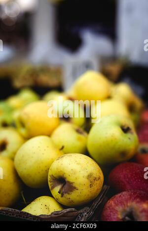 street market of assortment of fresh fruits and vegetables.Healthy food.Organic. farming. apples