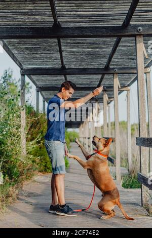 Happy adult man playing with dog at countryside