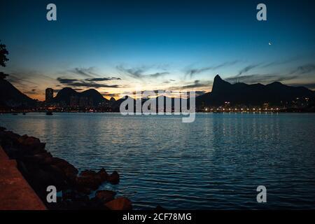 Nice views of a beach in Rio de Janeiro at sunset - Stock Photo