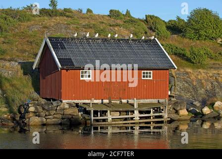 Fishing hut in South Koster Island, Sweden - Stock Photo