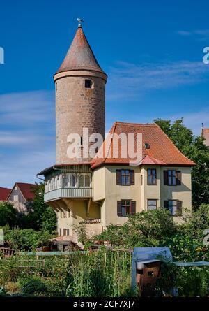 Salwarten tower and gardens in front, Dinkelsbuhl, Central Franconia, Bavaria, Germany