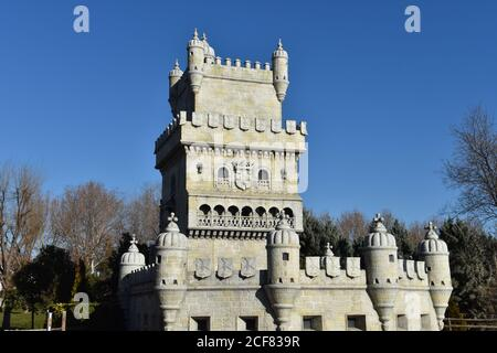 A low angle shot of the Belem Tower (Torre de Belem) in Lisbon, Portugal - Stock Photo
