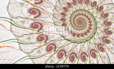 Colorful spiral structure lines on white, computer generated abstract background, 3D rendering - Stock Photo