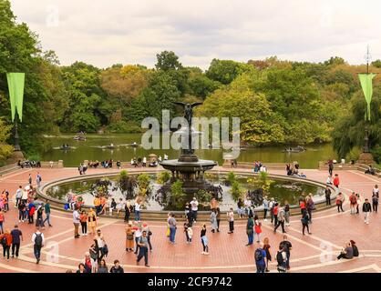 New York City, USA - October 7, 2019: Many People are around the Bethesda Fountain on the Terrace in the Central Park.