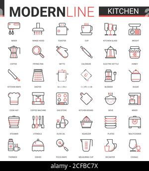 Kitchen flat line icon vector illustration set. Red black thin linear kitchenware utensil, glass dishware, equipment tools for cooking food and household appliances mobile app symbols collection - Stock Photo