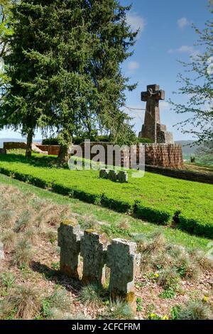 Military cemetery in Kastel-Staadt, Saar Valley, Rhineland-Palatinate, Germany - Stock Photo