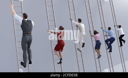 Career Progression with Corporate Ladders for Promotion - Stock Photo
