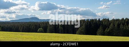 Germany, Saxony-Anhalt, Fir, Harz National Park, clear view of the Wurmberg (l) and the Brocken (r). - Stock Photo
