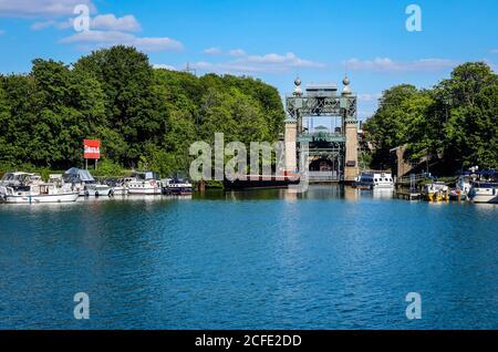 LWL industrial museum Henrichenburg boat lift on the Dortmund-Ems Canal, Waltrop, Ruhr area, North Rhine-Westphalia, Germany