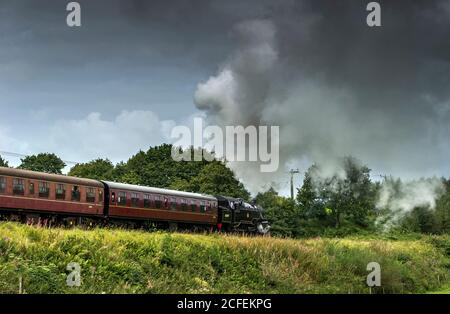 East Lancashire Railway, Bury Lancashire, 5th September 2020. A steam engine pulls out of the Burrs Country Park stop as visitors step back in time to enjoy a ride through the Lancashire countryside. The volunteer run heritage railway is currently running a reduced weekend service for visitors to enjoy. Credit: Paul Heyes/ Alamy Live News - Stock Photo