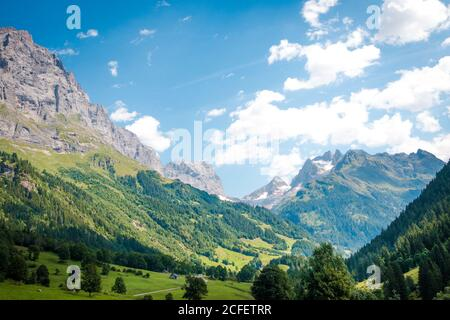 Scenery picturesque view of houses on green meadows in alps peaks mountain in Switzerland