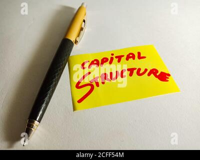 Capital structure word displayed on paper slip concept for educational informative awareness.