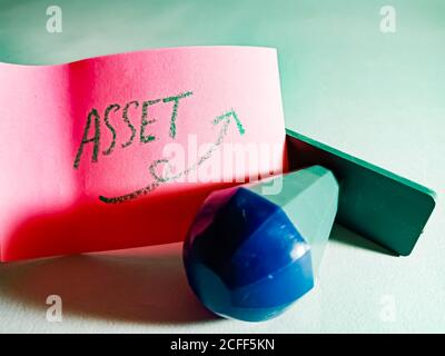 Asset word displayed on paper slip concept for educational informative awareness.