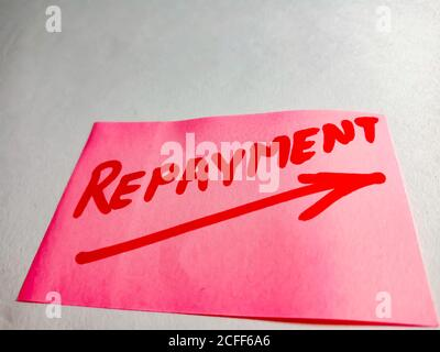 Repayment word displayed on paper slip concept for educational informative awareness.