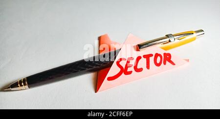 Sector word displayed on paper slip concept for educational informative awareness.