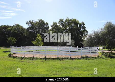 Photo of round pen outdoors ready for a equestrian training - Stock Photo
