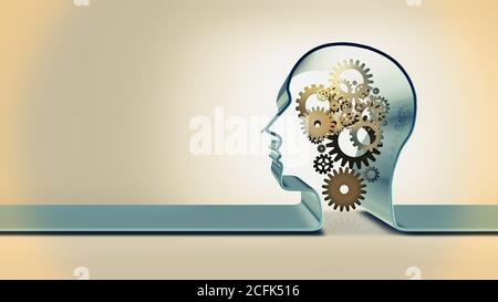 Conceptual design image with head silhouette and gear mechanism inside