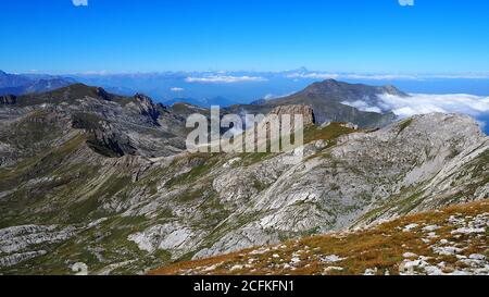 Scenic view of mountains against clear blue sky, With Mount Monviso on background