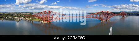 Aerial view of North Queensferry and the Forth Rail Bridge, Fife, Scotland.