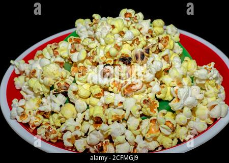popcorn in a red bowl top views