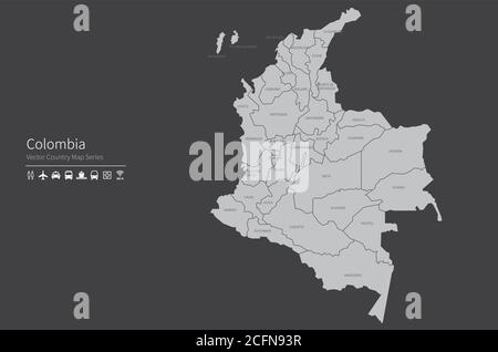 Colombia map. National map of the world. Gray colored countries map series. - Stock Photo