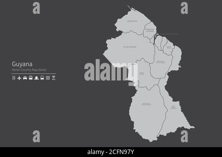 Guyana map. National map of the world. Gray colored countries map series. - Stock Photo