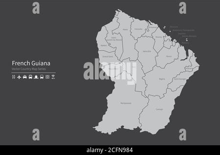 French Guiana map. National map of the world. Gray colored countries map series. - Stock Photo