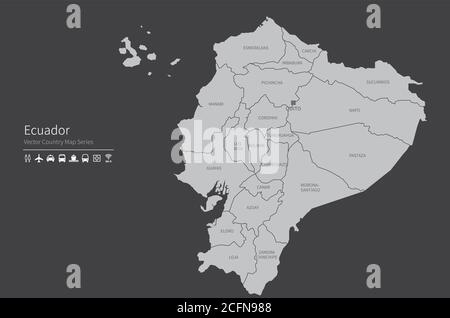 Ecuador map. National map of the world. Gray colored countries map series. - Stock Photo