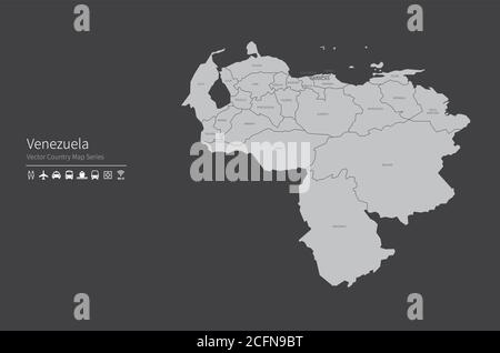 Venezuela map. National map of the world. Gray colored countries map series. - Stock Photo