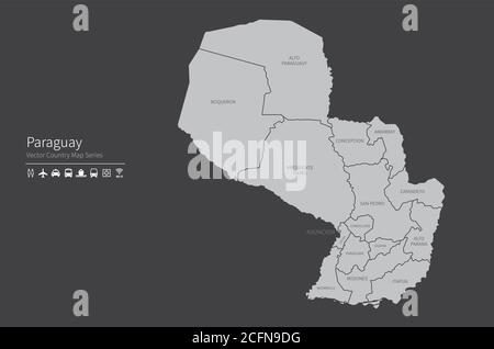 Paraguay map. National map of the world. Gray colored countries map series. - Stock Photo