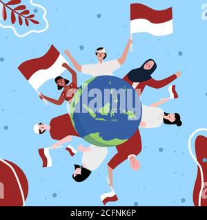 Multi ethnic people smile hold red white flag background of archipelago earth celebrate Indonesian independence day concept with flat cartoon style. - Stock Photo