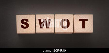 Abbreviation SWOT on wooden cubes. Business analysis concept - Stock Photo