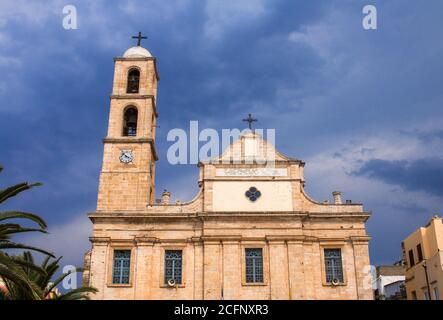 Chania Cathedral, dedicated to Panagia Trimartyri (Virgin of the Three Martyrs) in Chania Old Town, Crete - Stock Photo