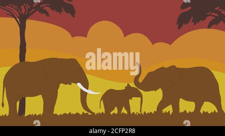 Full frame silhouette family of an elephant in the grassland on the multicolor background.
