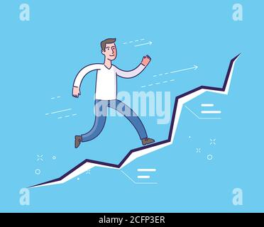 Running businessman on diagram. Business concept - Stock Photo
