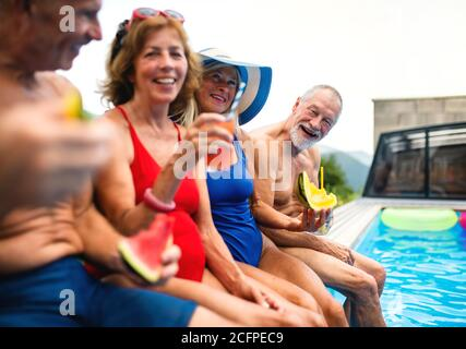 Group of cheerful seniors sitting by swimming pool outdoors in backyard. - Stock Photo