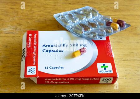 Opened packet of Amoxicillin capsules, a common antibiotic medication used for treating infections