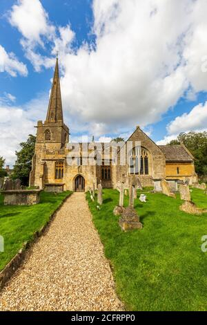 The church of St Michael and All Angels in the Cotswold village of Stanton, Gloucestershire, England - Stock Photo