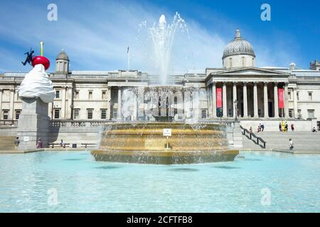 Trafalgar Square with the National Gallery and fountains by Edwin Lutyens. London, UK.