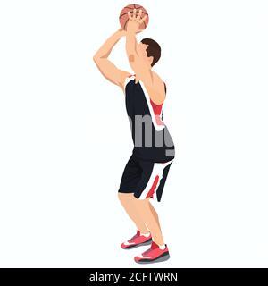 Professional basketball player shooting ball into the hoop, vector illustration - Stock Photo