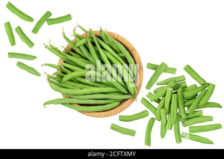 Green beans in wooden bowl isolated on a white background, Top view. Flat lay - Stock Photo