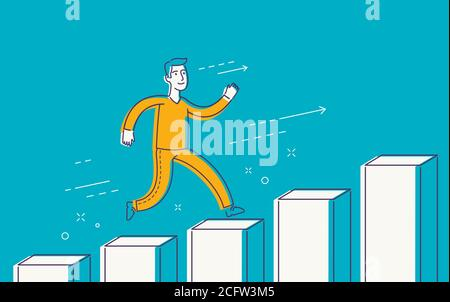 Running businessman on successful diagram. Business, finance concept - Stock Photo