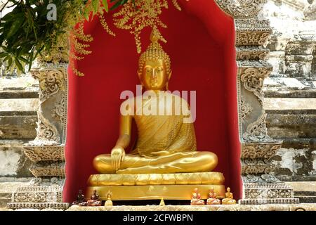 Chiang Mai Thailand - Golden Buddha statue in Temple Wat Buppharam - Stock Photo