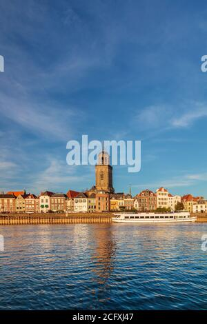 View at the Dutch city of Deventer in Overijssel with the river IJssel in front - Stock Photo