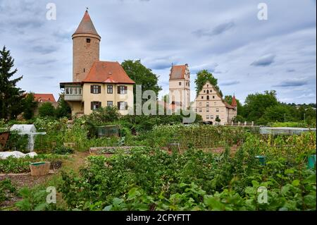Salwarten tower and gardens in front, Nördlinger Tor behind, Dinkelsbuhl, Central Franconia, Bavaria, Germanyon