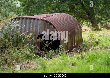 Rusty corrugated iron hut in a field